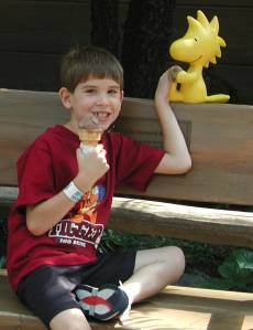 Jake with Schroeder at Camp Snoopy